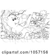Royalty Free Clip Art Illustration Of A Coloring Page Outline Of A Bear Cub Painting by Alex Bannykh