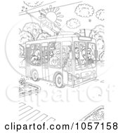 Royalty Free Clip Art Illustration Of A Coloring Page Outline Of People Using A Public Tram 1