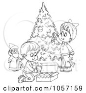 Royalty Free Clip Art Illustration Of A Coloring Page Outline Of Children Trimming A Christmas Tree