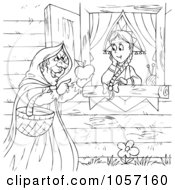 Royalty Free Clip Art Illustration Of A Coloring Page Outline Of A Witch Handing A Girl A Poisoned Apple by Alex Bannykh