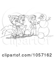 Royalty Free Clip Art Illustration Of A Coloring Page Outline Of Boys Skiing And Making A Snowman
