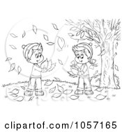 Royalty Free Clip Art Illustration Of A Coloring Page Outline Of A Boy And Girl Gathering Autumn Leaves