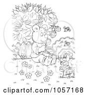 Royalty Free Clip Art Illustration Of A Coloring Page Outline Of A Bear And Mouse Sharing Honey