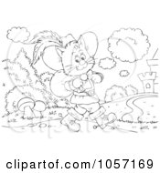 Royalty Free Clip Art Illustration Of A Coloring Page Outline Of Puss In Boots Walking To A Castle by Alex Bannykh