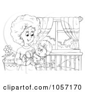 Royalty Free Clip Art Illustration Of A Coloring Page Outline Of A Mom Holding Her Baby In A Nursery