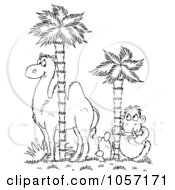 Royalty Free Clip Art Illustration Of A Coloring Page Outline Of A Monkey And Camel