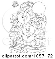 Royalty Free Clip Art Illustration Of A Coloring Page Outline Of A Bee Ppig Owl And Bear Coloring