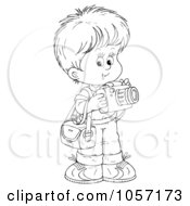 Royalty Free Clip Art Illustration Of A Coloring Page Outline Of A Cute Boy Taking Pictures