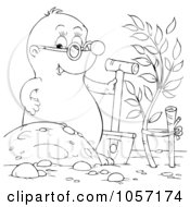 Royalty Free Clip Art Illustration Of A Coloring Page Outline Of A Gopher Digging