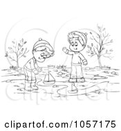 Royalty Free Clip Art Illustration Of A Coloring Page Outline Of Boys Playing With Boats In A Creek