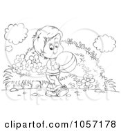 Royalty Free Clip Art Illustration Of A Coloring Page Outline Of A Boy Carrying A Ball