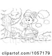 Royalty Free Clip Art Illustration Of A Coloring Page Outline Of Red Riding Hood Waving by Alex Bannykh
