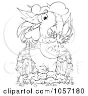 Royalty Free Clip Art Illustration Of A Coloring Page Outline Of A Rooster Wearing Clothes by Alex Bannykh