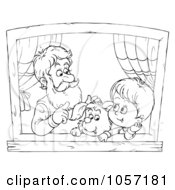 Royalty Free Clip Art Illustration Of A Coloring Page Outline Of A Boy Dog And Grandpa In A Window