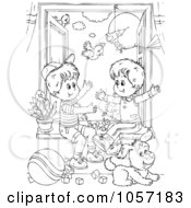 Royalty Free Clip Art Illustration Of A Coloring Page Outline Of Boys Playing By A Window