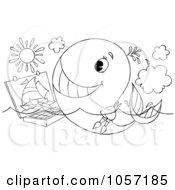 Royalty Free Clip Art Illustration Of A Coloring Page Outline Of An Artist Whale Painting by Alex Bannykh