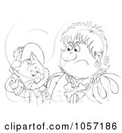 Royalty Free Clip Art Illustration Of A Coloring Page Outline Of Puss In Boots Talking To A Grumpy Man