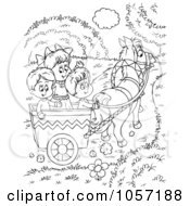 Royalty Free Clip Art Illustration Of A Coloring Page Outline Of Children Riding In A Horse Cart