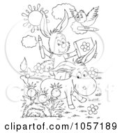 Royalty Free Clip Art Illustration Of A Coloring Page Outline Of A Bird Donkey And Rabbit Coloring by Alex Bannykh