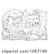 Royalty Free Clip Art Illustration Of A Coloring Page Outline Of Beavers by Alex Bannykh