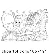Royalty Free Clip Art Illustration Of A Coloring Page Outline Of A Bobcat by Alex Bannykh