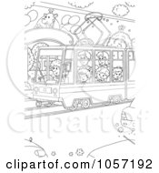 Royalty Free Clip Art Illustration Of A Coloring Page Outline Of People Using A Public Tram 2