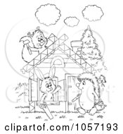 Royalty Free Clip Art Illustration Of A Coloring Page Outline Of Animals Building A Cabin by Alex Bannykh