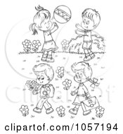 Royalty Free Clip Art Illustration Of A Coloring Page Outline Of Children Playing Outside