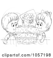 Royalty Free Clip Art Illustration Of A Coloring Page Outline Of Kids With A Birthday Cake