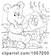 Royalty Free Clip Art Illustration Of A Coloring Page Outline Of A Bear Drawing A Flower by Alex Bannykh