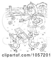 Royalty Free Clip Art Illustration Of A Coloring Page Outline Of A Farm Girl Feeding Geese