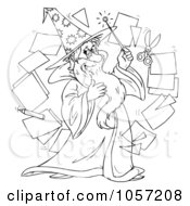 Royalty Free Clip Art Illustration Of A Coloring Page Outline Of A Wizard by Alex Bannykh