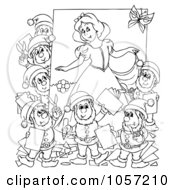 Royalty Free Clip Art Illustration Of A Coloring Page Outline Of Dwarves And Snow White by Alex Bannykh