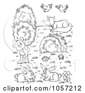 Royalty Free Clip Art Illustration Of A Coloring Page Outline Of A Scene Of Wild Animals