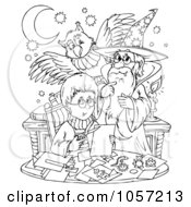 Royalty Free Clip Art Illustration Of A Coloring Page Outline Of A Boy Wizard And Owl by Alex Bannykh