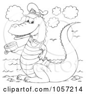 Royalty Free Clip Art Illustration Of A Coloring Page Outline Of A Captain Crocodile by Alex Bannykh