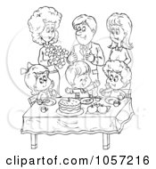 Royalty Free Clip Art Illustration Of A Coloring Page Outline Of A Family Celebrating Around A Table