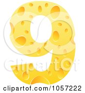Royalty Free Vector Clip Art Illustration Of A Cheese Textured Number 9 Nine by Andrei Marincas
