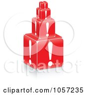 Royalty Free Vector Clip Art Illustration Of A Stack Of 3d Exclamation Point Boxes by Andrei Marincas
