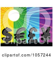 Royalty Free Vector Clip Art Illustration Of A Background Of A Sun Shining Over Currency And Different Colors