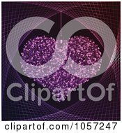 Royalty Free Vector Clip Art Illustration Of A Background Of A Purple Heart And Mesh