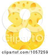Royalty Free Vector Clip Art Illustration Of A Cheese Textured Number 8 Eight by Andrei Marincas
