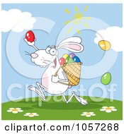 Royalty-Free Vector Clip Art Illustration of a White Bunny Participating In An Easter Egg Hunt - 3 by Hit Toon #COLLC1057268-0037