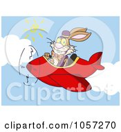 Royalty-Free Vector Clip Art Illustration of an Easter Bunny Flying A Red Plane by Hit Toon #COLLC1057270-0037