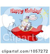 Royalty Free Vector Clip Art Illustration Of Happy Holidays Greeting Over An Easter Bunny Flying A Red Airplane