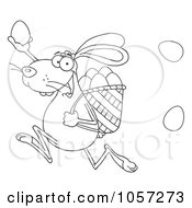 Royalty Free Vector Clip Art Illustration Of An Outlined Bunny Participating In An Easter Egg Hunt