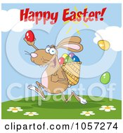 Royalty Free Vector Clip Art Illustration Of A Happy Easter Greeting Over A Brown Bunny Participating In An Easter Egg Hunt