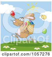 Royalty Free Vector Clip Art Illustration Of A Brown Bunny Participating In An Easter Egg Hunt 3