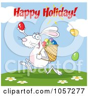 Royalty Free Vector Clip Art Illustration Of A Happy Easter Greeting Over A White Bunny Participating In An Easter Egg Hunt