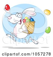 Royalty Free Vector Clip Art Illustration Of A White Bunny Participating In An Easter Egg Hunt 2